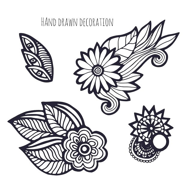 Flores dibujadas a mano. decoración de página para colorear ...