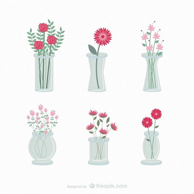 flores en floreros vector gratis
