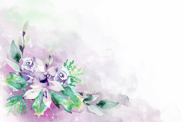 Flores florecientes de la acuarela para el diseño del fondo vector gratuito