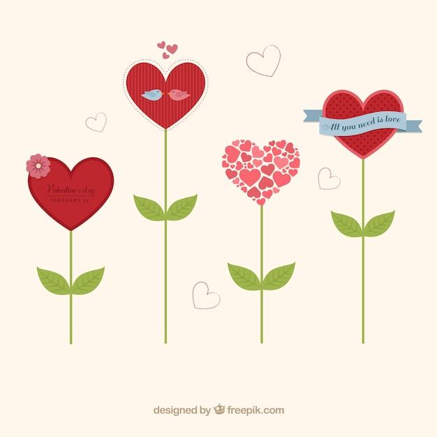 Flores En Forma De Corazón Descargar Vectores Gratis