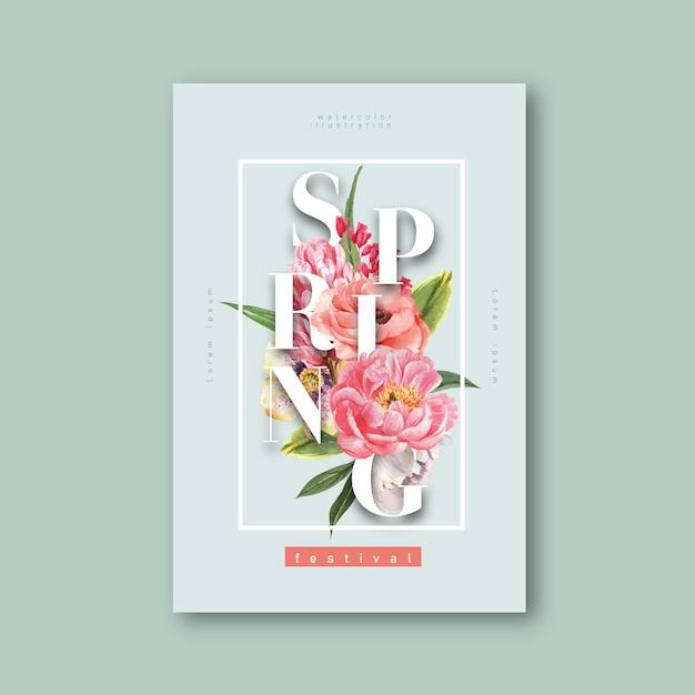 Flores frescas del cartel de la primavera, tarjeta de la decoración con el jardín colorido floral, boda, invitación vector gratuito
