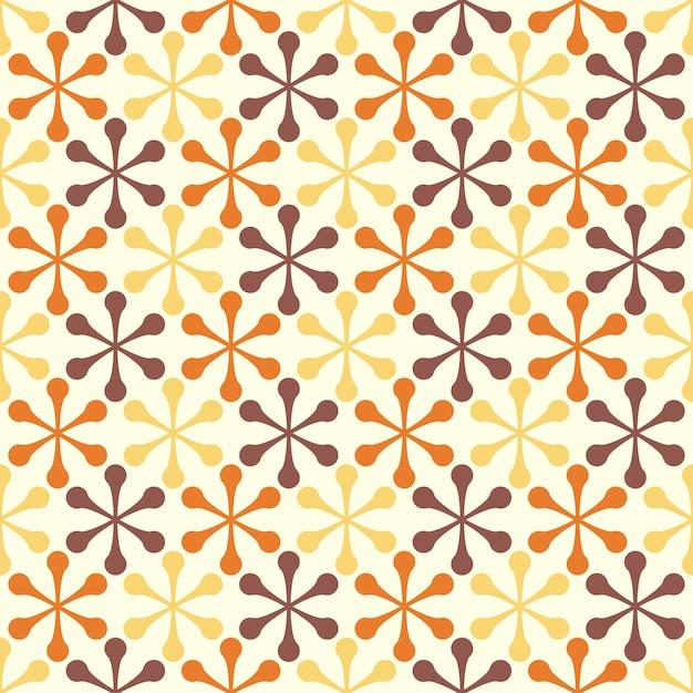 Flores geométricas retro diseño de patrones sin fisuras Vector Premium