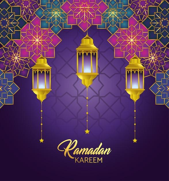 Flores gometricas con lamparas que cuelgan al ramadan kareem. vector gratuito