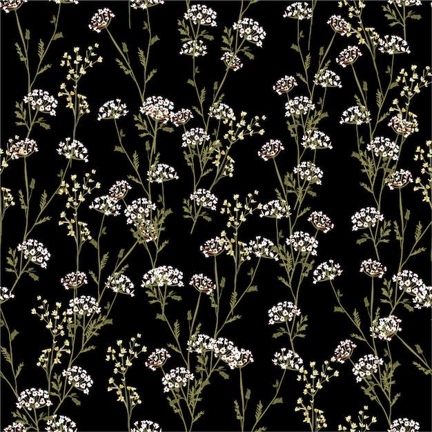 Flores hermosas y de moda de la vendimia del modelo inconsútil del prado, aisladas en color negro del verano. decoración floral botánica Vector Premium
