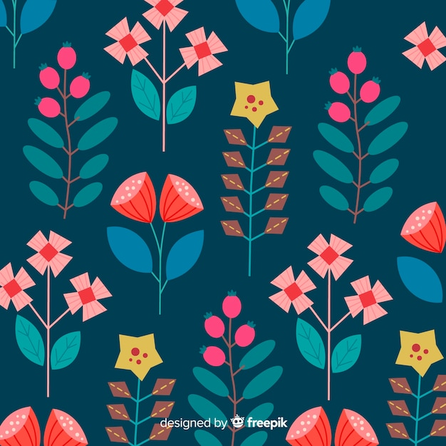 Flores y hojas abstractas dibujadas a mano vector gratuito