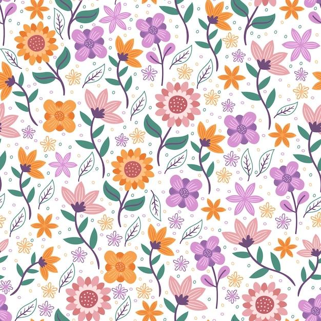 Flores con hojas de patrones sin fisuras florales vector gratuito