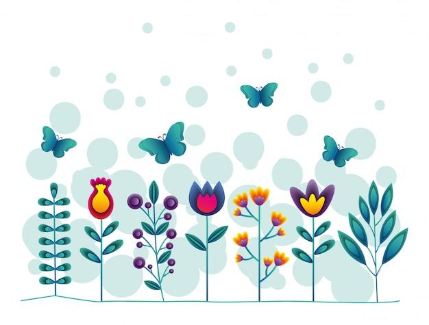 Flores y mariposas Vector Premium