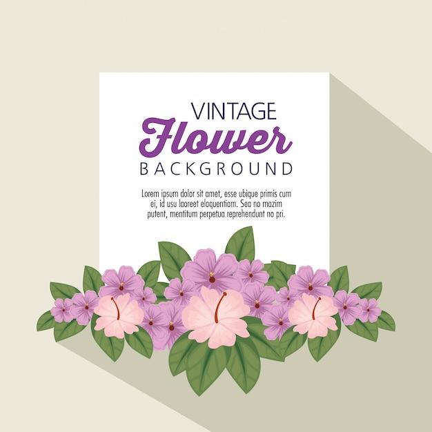 Flores de moda con pétalos y hojas. vector gratuito