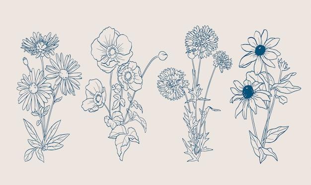 Flores de otoño contornos dibujados a mano vector gratuito