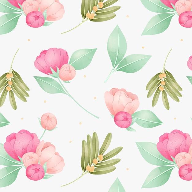 Flores de peonía rosa acuarela patrón floral vector gratuito