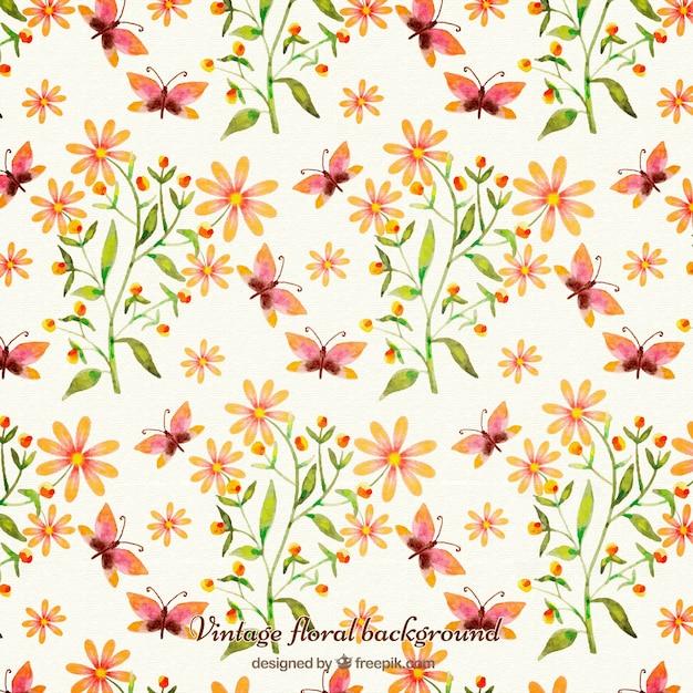 Flores Pintadas A Mano De Color Naranja Con Fondo De