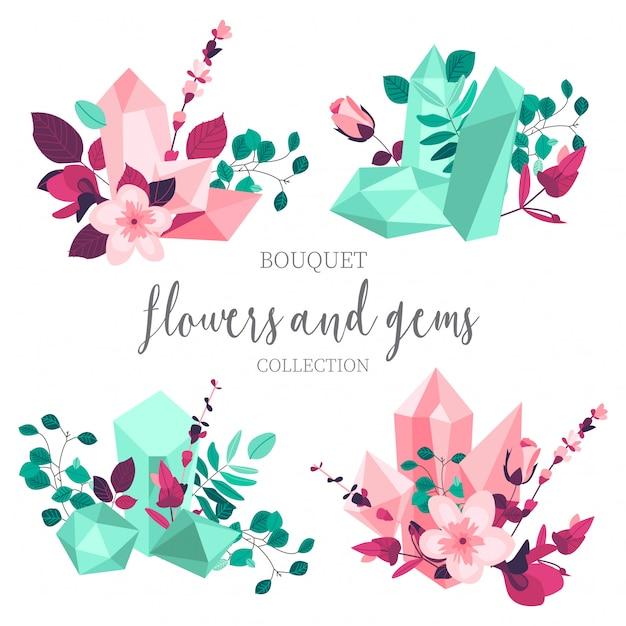 Flores planas y gemas vector gratuito
