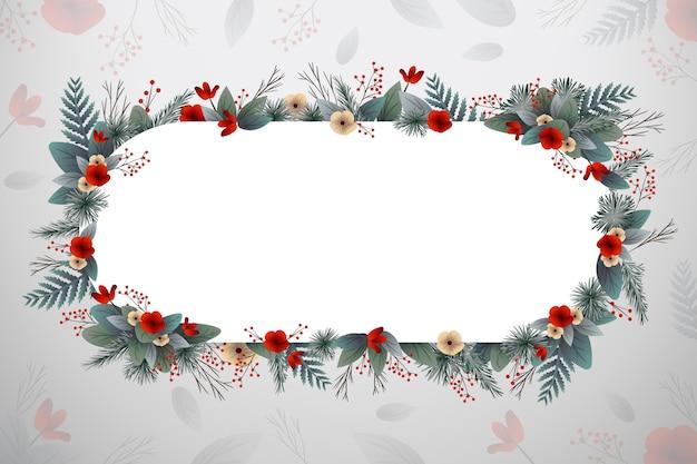 Flores rojas de invierno con bandera blanca vector gratuito