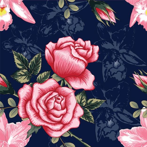 Flores rosadas y orquídeas rosadas hermosas del modelo inconsútil en fondo azul marino del color Vector Premium