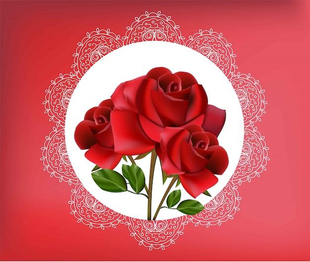 Flores Rosas Rojas En Marco De Encaje Vintage Descargar Vectores