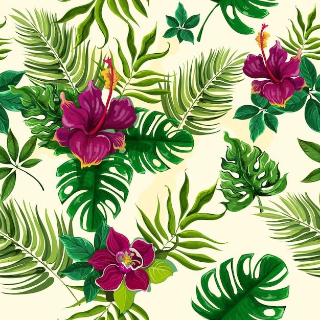 Flores tropicales de plantas sin patrón vector gratuito