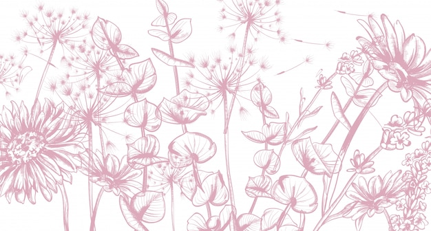 Flores de verano línea de arte. Vector Premium