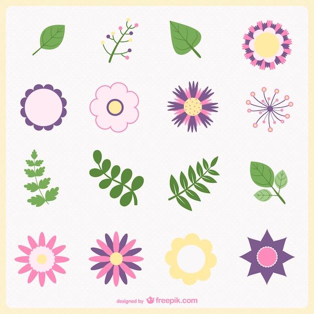 Flores y hojas minimalistas | Descargar Vectores gratis