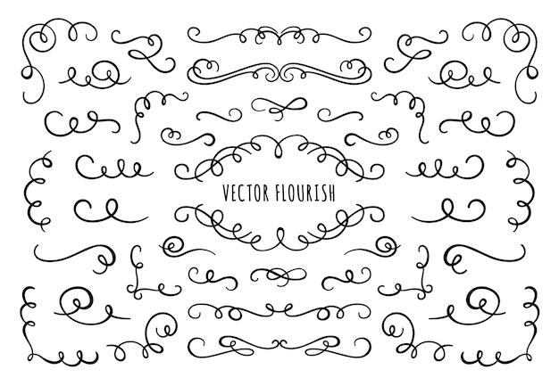Florezca el marco, las esquinas y los separadores. esquina de florituras decorativas, divisor caligráfico y remolinos de pergamino ornamentados Vector Premium