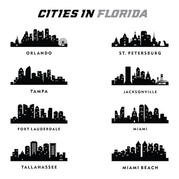 Florida ilustración de paisaje de silueta de ciudades | Descargar ...