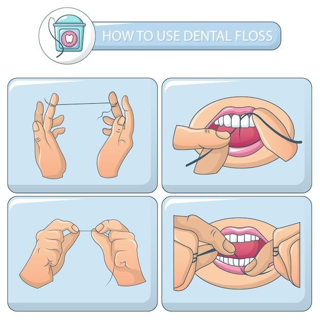 Floss dental banner concepto conjunto Vector Premium