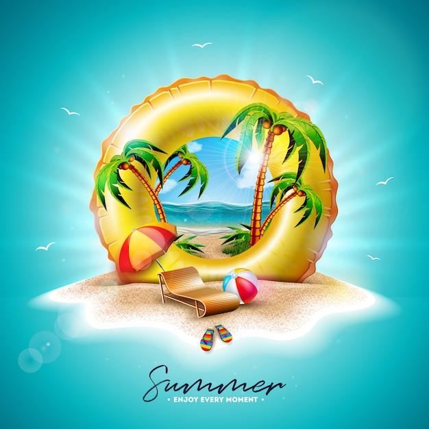 Flotador amarillo y palmeras exóticas vector gratuito