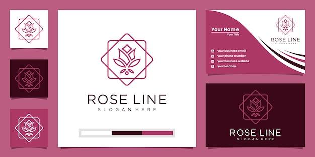 Flower rose salón de belleza de lujo, moda, cuidado de la piel, cosméticos, productos de yoga y spa. Vector Premium
