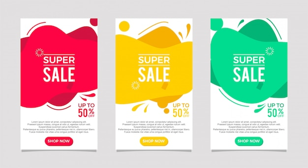 Fluido dinámico moderno en venta conjunto de banners. plantilla de banner de venta, oferta especial de super venta Vector Premium