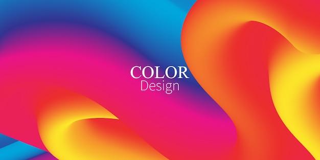 Flujo de fluido. salpicadura de tinta. color líquido. forma fluida. flujo abstracto. color vibrante. cartel de moda. gradiente de colores. tinta en agua. ola. colores fluidos. forma líquida. ola de flujo. Vector Premium