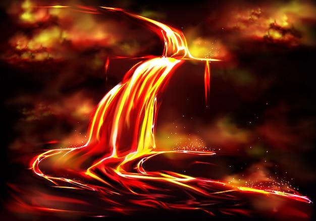 Flujo de lava fluida caliente, nubes de humo venenoso y cenizas, gases tóxicos, explosiones. vector gratuito
