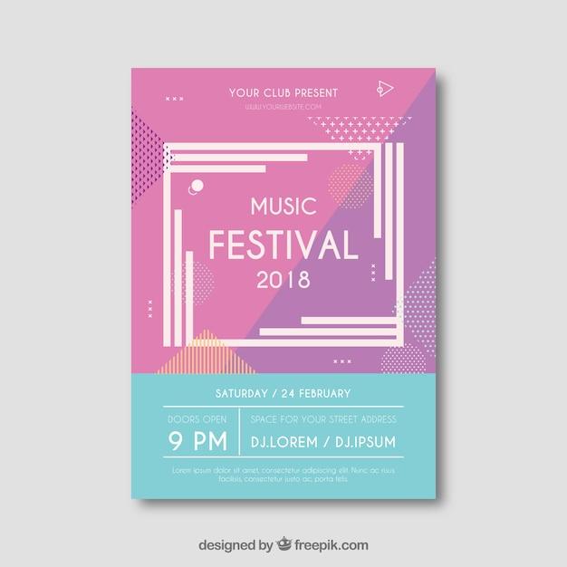 Flyer creativo moderno para festival de música vector gratuito