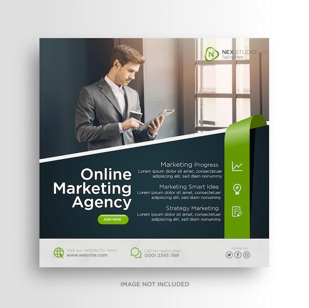 Flyer cuadrado de banner de redes sociales de marketing de negocios digitales Vector Premium