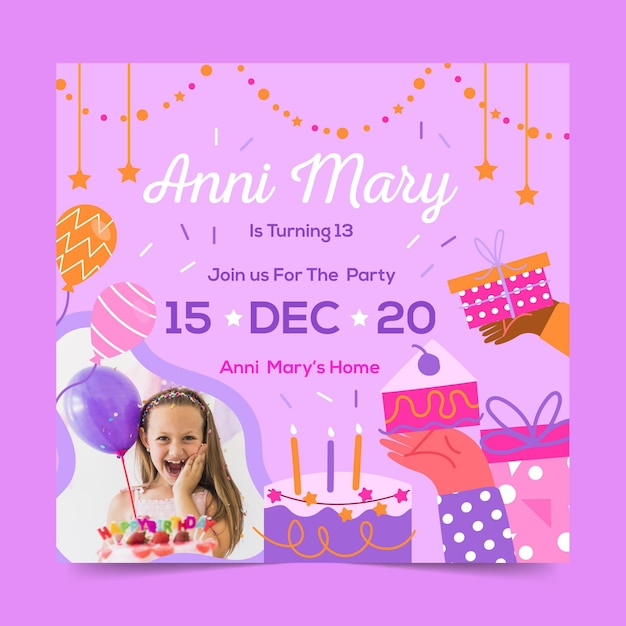 Flyer cuadrado de celebración de cumpleaños vector gratuito