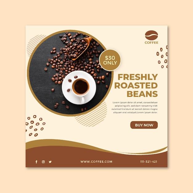 Flyer cuadrado taza de café y frijoles Vector Premium