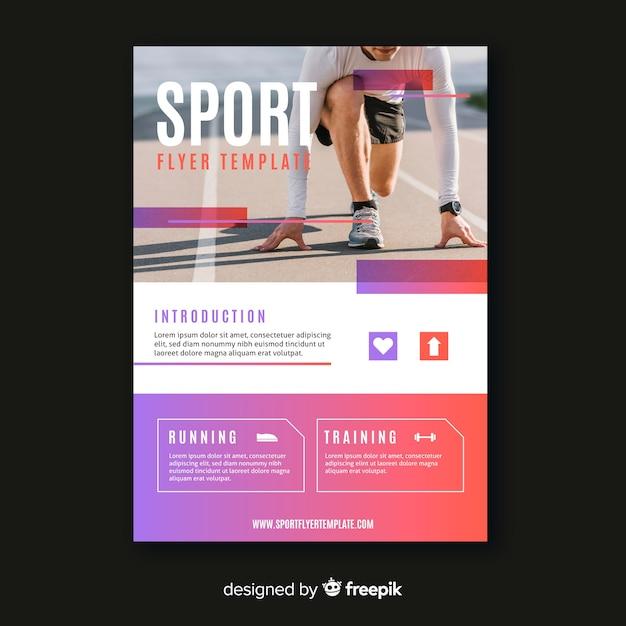 Flyer deportivo con plantilla de foto vector gratuito