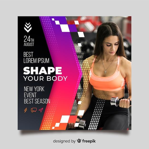 Flyer deportivo con plantilla de imagen vector gratuito