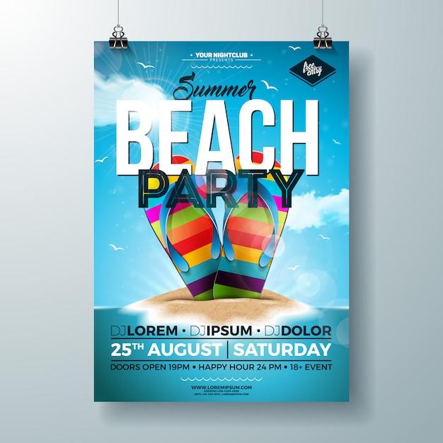 Flyer de fiesta de verano con colorido flip-flop en la isla tropical vector gratuito