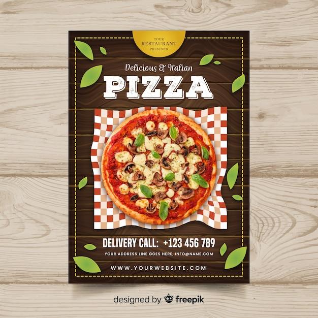 Flyer fotográfico restaurante pizza vector gratuito