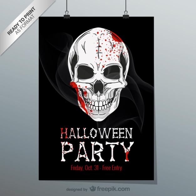 Flyer imprimible de halloween Vector Premium
