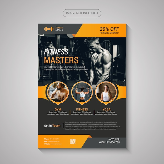 Flyer moderno de fitness y gimnasio Vector Premium