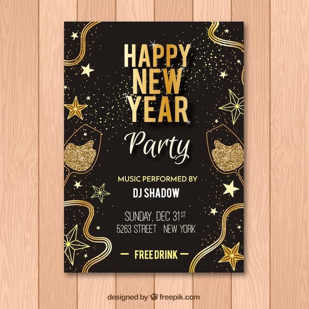 27f994811 Flyer negro y dorado para fiesta de año nuevo vector gratuito