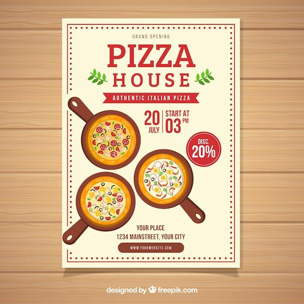 Flyer oferta de pizza con diseño plano | Descargar Vectores gratis