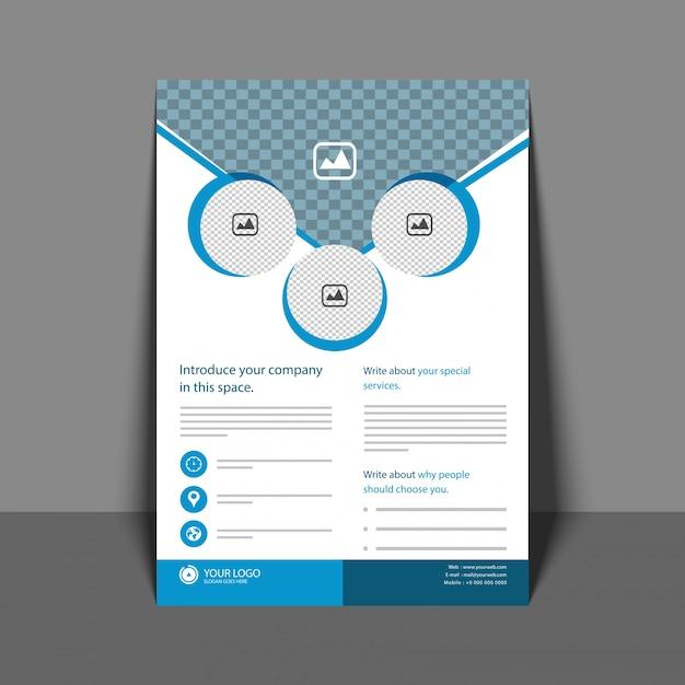 Flyer profesional en color azul, folleto corporativo, informe ...