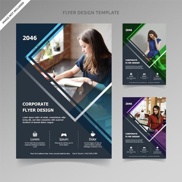 Flyer template design rectángulo líneas 3 opciones de color, capa organizada Vector Premium