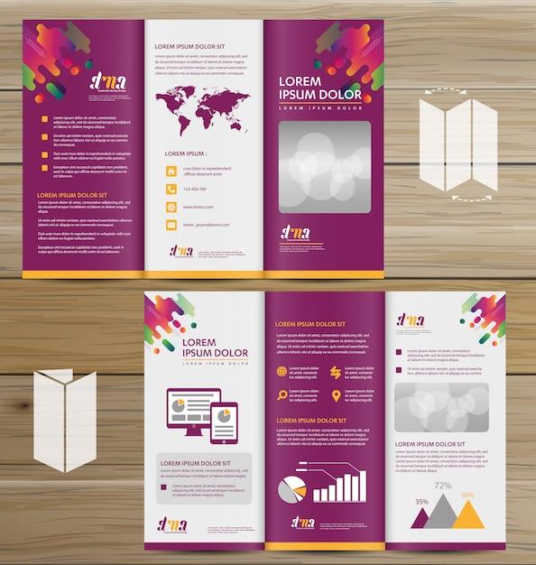 Flyer tri fold folleto folleto vector diseño conjunto Vector Premium