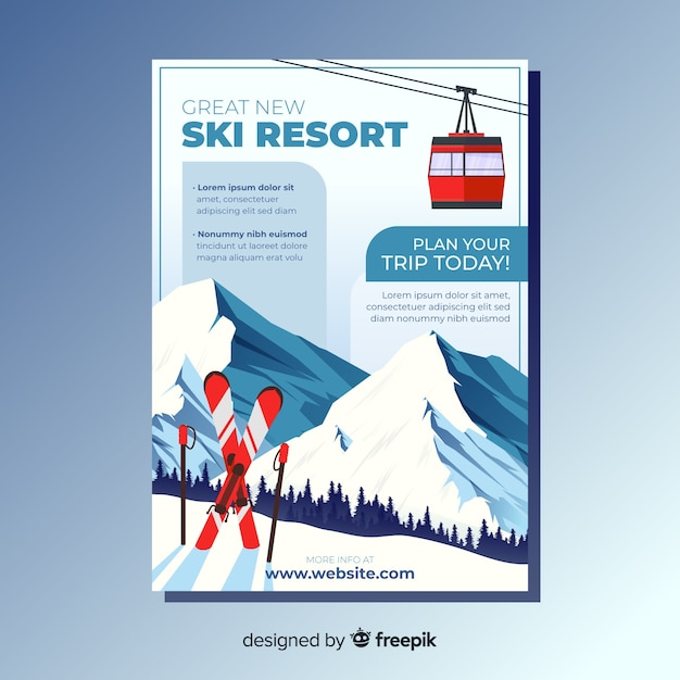 Flyer viaje para esquiar vector gratuito