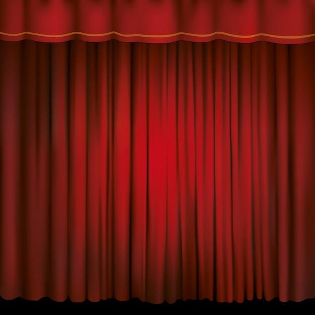 Foco en una cortina roja. Vector Premium