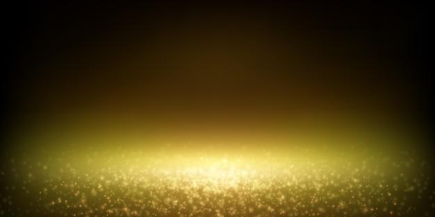 Foco de polvo brillante que cae, bokeh de luces borrosas de lujo. Vector Premium