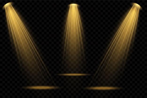 Focos amarillos. escena. efectos transparentes de luz. Vector Premium