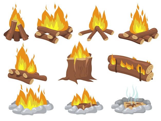 Fogata de madera brillante y juego de elementos planos de hoguera. fuego de dibujos animados para acampar colección de ilustraciones vectoriales aisladas. concepto de viaje y aventura vector gratuito
